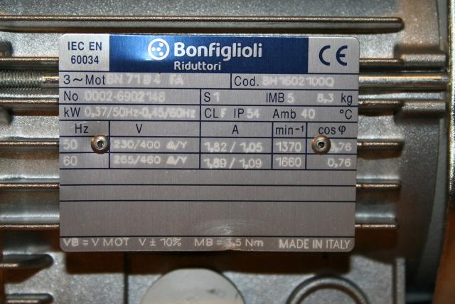 Moteur De Lacet Bonfiglioli 0 37 Kw Fc71 Fe Pour Nm Nm1500